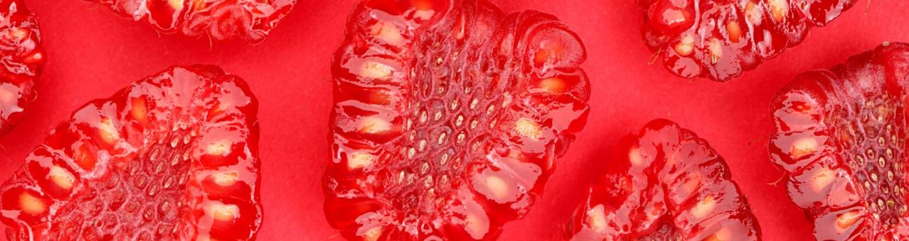 Framboos met zichtbare frambozenpitjes